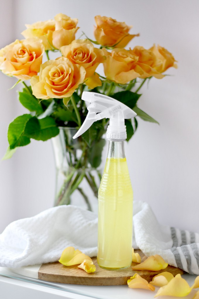 Natural cleaning spray with essential oils and vodka