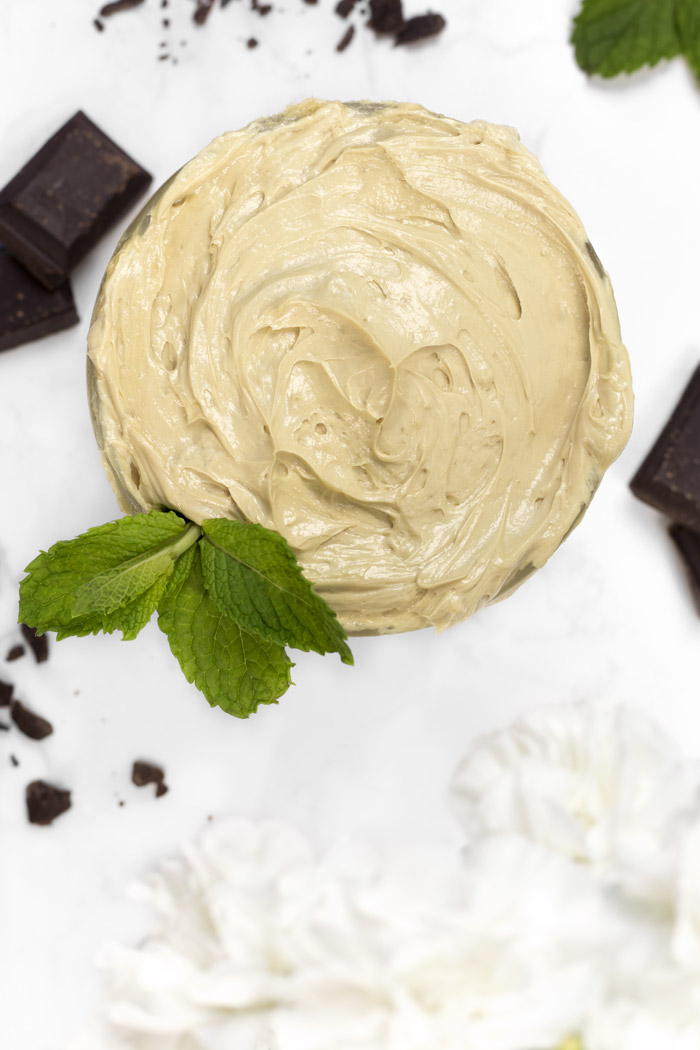 DIY whipped body butter with a peppermint hot cocoa scent